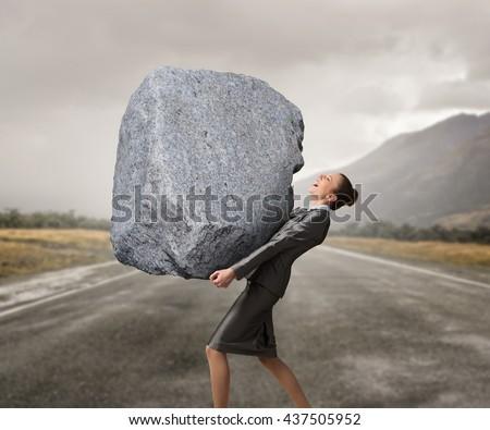 Under pressure of difficulties Foto stock ©