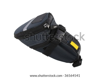 under-saddle carry bag for bike isolated on white background