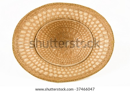 Under side of a handmade safari hat over white background