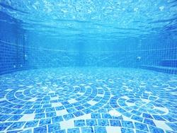 under Swimming pools empty blue water transparent tiles blend ocean