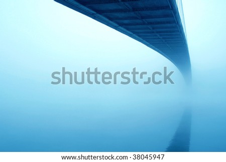 Under the bridge in fog