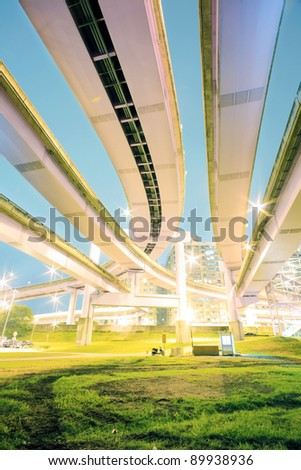 under the bridge of the express way in a modern city