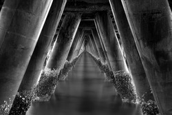 Under the old concrete bridge for boat fishing ,Hua Hin at Prachuap Khiri Khan, Thailand