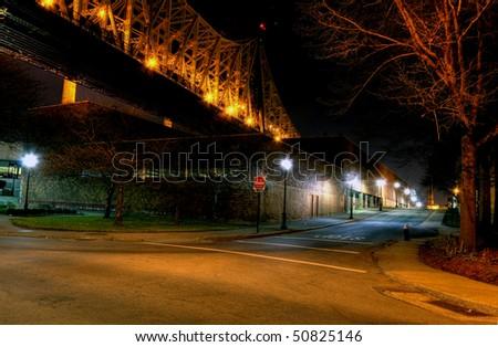 Under the Queensboro bridge  at night