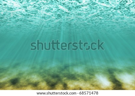 under water scene with light rays as background