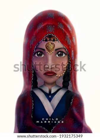 Underage bride illustration isolated. Raising awareness on 8th March, women's day - standing against injustice and child marriage.