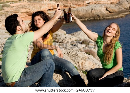 underage partying - stock photo