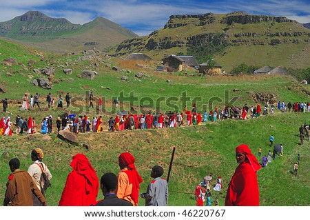 UNDERBERG, SOUTH AFRICA - NOVEMBER 2: The Ikhanya Mission church undertakes an infrequent pilgrimage into the Drakensberg mountains on November 2, 2008.