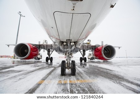 Undercarriage of the airplane in winter, Prague