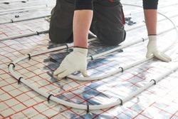 underfloor heating installation. Warm floor heating system