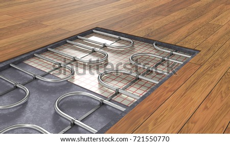 Underfloor heating system under wooden floor. 3D rendered illustration.