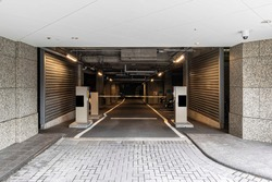 Underground car park entrance at modern office building