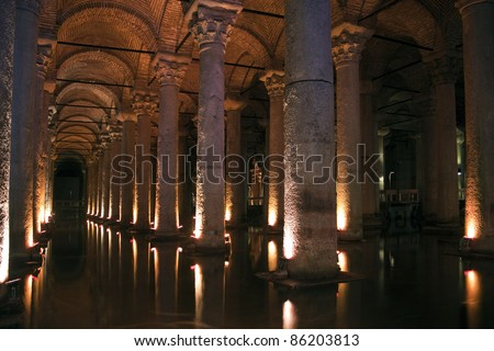 Underground cistern in Istanbul, 1500 years old.