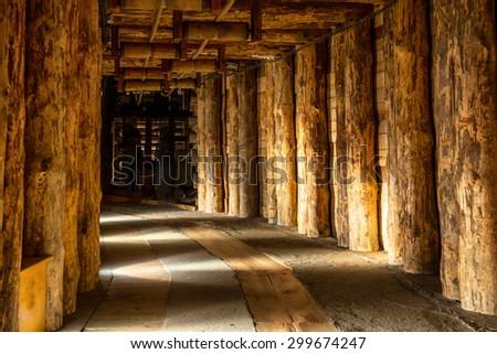 Underground corridor in Wieliczka Salt Mine