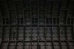 Underground dark wall in a subway tunnel