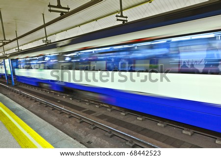 underground in Madrid with train in Motion, Spain