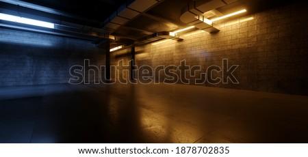 Underground Industrial Cyber Sci Fi Futuristic Neon Fluorescent Orange Blue Glowing Lights Garage Cement Grunge Dark Concrete Car Parking Tunnel Corridor Background 3D Rendering Illustration