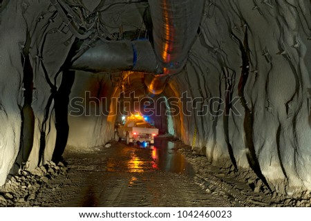 Underground mine tunnel, with many mines all over the Country Auatralia is mineral rich.