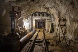 Underground mine tunnel with waterproof gates doors