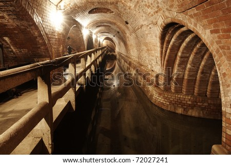 Underground old waste system in Prague, Czech republic.