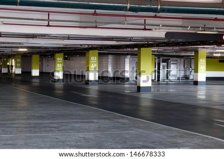 Underground parking garage in shopping center Sao Paulo
