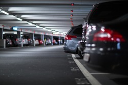Underground parking/garage (shallow DOF; color toned image)