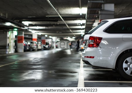 Shutterstock Underground parking/garage (shallow DOF; color toned image)
