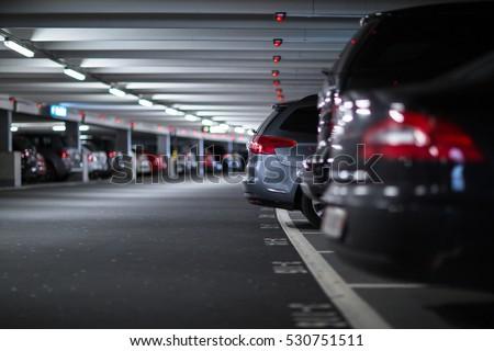 Shutterstock Underground parking/garage (shallow DOF; color toned image)