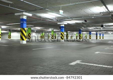underground parking in apartment house or in supermarket