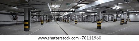 Underground parking panorama - stock photo