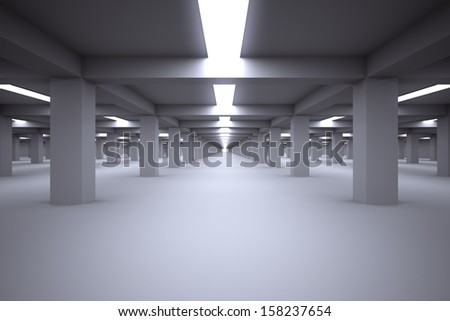 Underground parking without cars.