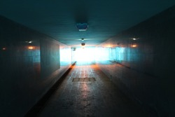 Underground passage. subway in the city of kazan. The color is blue.