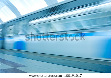 Underground platform and moving train