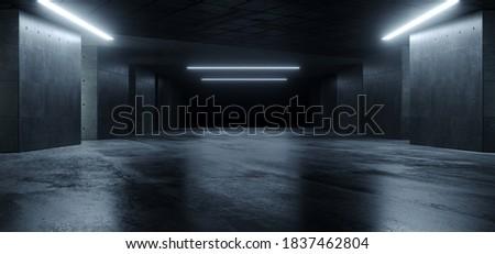 Underground Sci Fi Concrete Cement Background Dark Reflective Showroom Parking White Lights Modern Elegant 3D Rendering Illustration