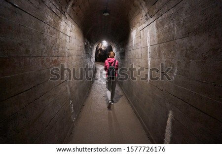 underground tunnel complex beneath the castle accessible to the public on guided tours