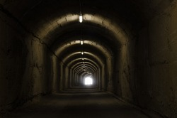 Underground tunnel leading to cold war bunker.