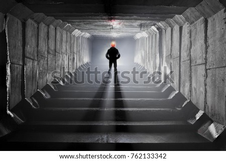 Underground tunnel with river and canalization #762133342