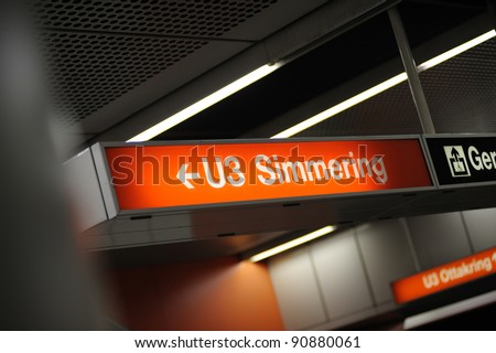 "Underground (U-Bahn) sign in station ""U3 - Simmering"", Vienna, Austria. Simmering is the 11th district of the city. Useful file for illustration Vienna transportation system."