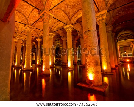 Underground water in Istanbul, Turkey know as Basilica Cistern.The cistern are located in the historical peninsula of Istanbul next to the Hagia Sophia.