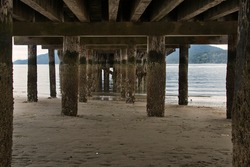 UNDERNEATH A OLD WOODEN PIER LOOKING OUT ONTO PUGET SOUND WASHINGTON