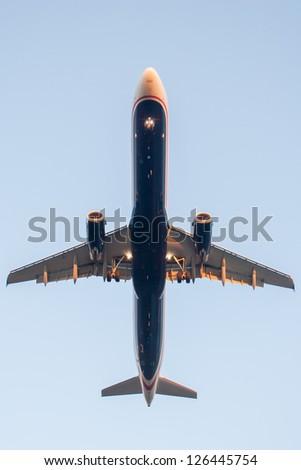 Underside of airliner