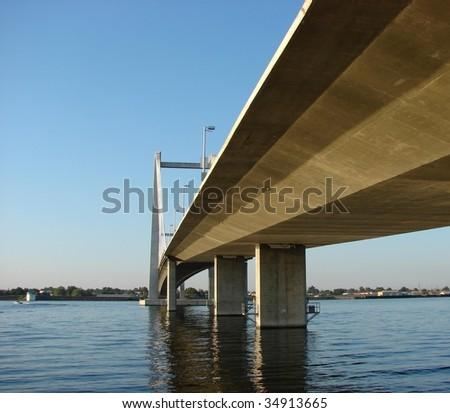 Underside of Concrete bridge over river