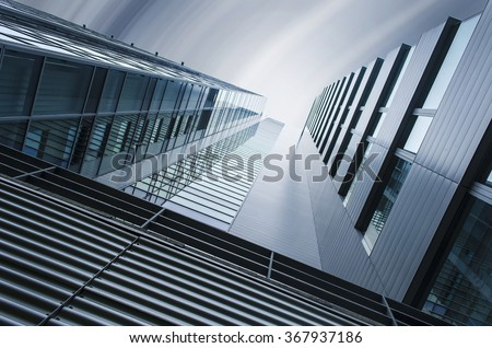 underside panoramic and perspective view to steel blue glass high rise building skyscrapers, industrial architecture - Shutterstock ID 367937186