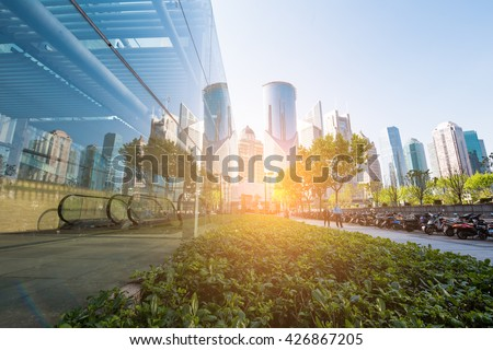 underside panoramic and perspective view to steel glass high rise building skyscrapers, business concept of successful industrial architecture #426867205