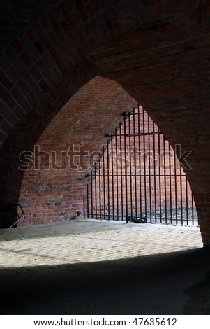 Underside part of Warsaw (Poland) barbakan - part of medieval fortification.