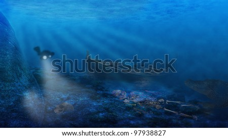 Underwater. A diver is approaching an old ship wreck in the deep. In the foreground there are skeletons and in the dark shadows a monster is lurking.