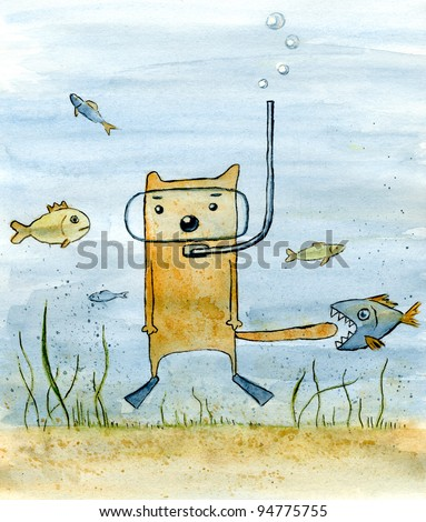 Underwater adventure. Cat under water is surrounded by fishes. Watercolor funny art.