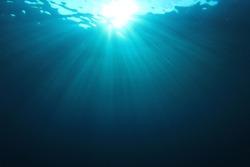 Underwater background in ocean with sunlight