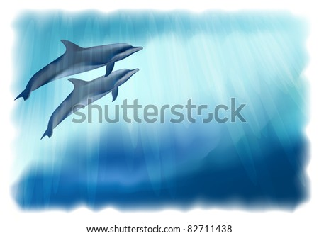 Underwater background with dolphins. Illustration. Simulating watercolor drawing.
