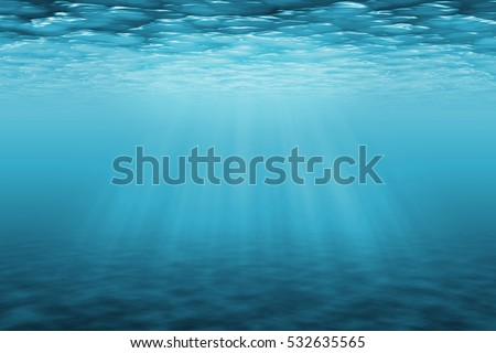 Underwater background with sun ray